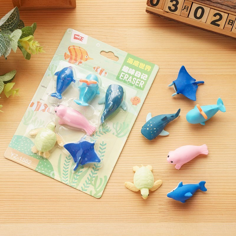 6pcs/lot Ocean Animal Erasers Bulk Fun Gifts For Kids Pencil Erasers Lot Eraser Animals