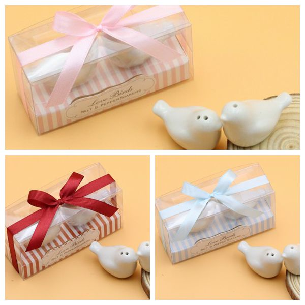 240pcslot120boxes Perfect Wedding Gift Favors Lovebirds Salt And