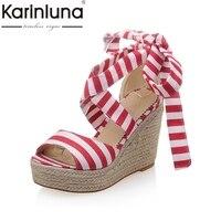 KARINLUNA Tamaño Grande 33-43 Raya de La Manera de la Marca de Tobillo del Nudo de Las Mujeres Zapatos de Cuña Dulce Plataforma de Los Tacones Altos Del Partido de la Mujer sandalias