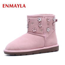 ENMAYLA  Round Toe Slip-On Ankle women boots 2018 shoes woman winter zapatos de mujer Big size 34-43 ZYL1616