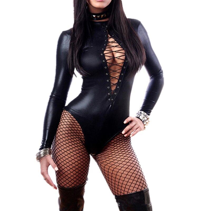 Buy Gothic Black Vinyl Jumpsuit Faux Leather Leotard Teddy Lingerie Long Sleeve Front Bondage Wet Look Catsuits Pole Dance Costume