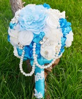 Handmade Artificial Flower Wedding Flower Bride Holding Flowers Brooch Cloth Accessories Multicolor