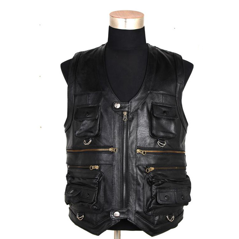 Men vest Waistcoat 100% Genuine Leather Leisure Reporters Suit Men Cow Leather Vest big size XL 2XL 3XL 4XL 5XL 6XL 7XL