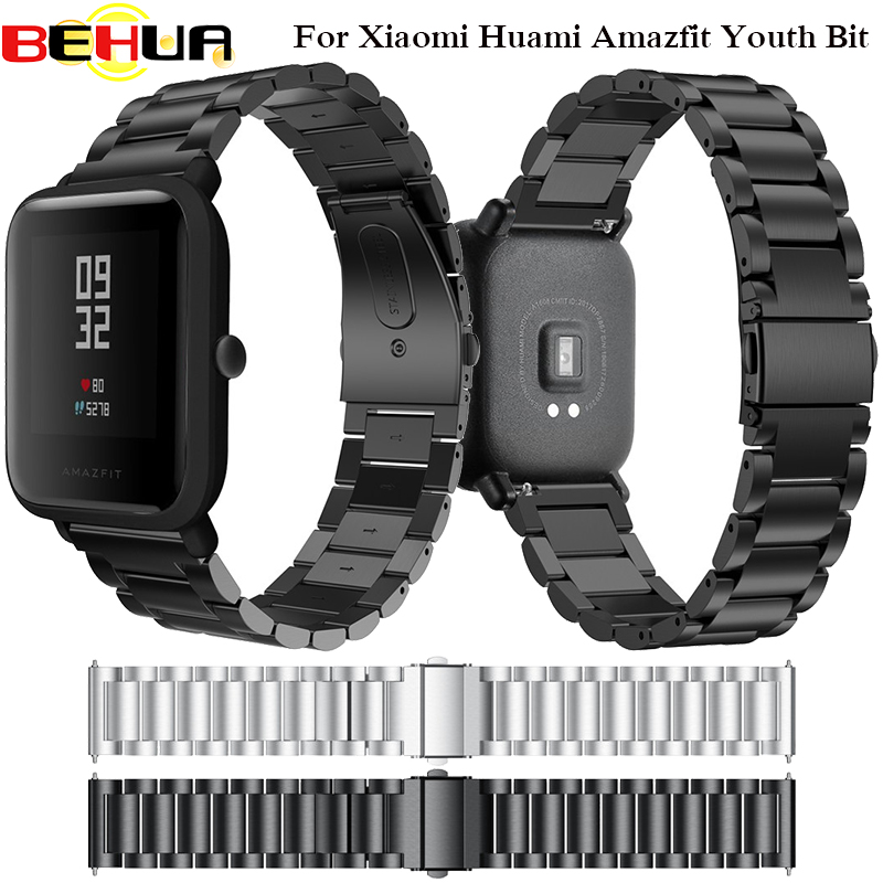 Original 20mm Smart Watchband Metal Stainless Steel band Watches Strap Replacement Watch Band For Xiaomi Huami Amazfit Youth Bit original replacement strap for xiaomi huami amazfit sport smart watch original replacement wristband for xiaomi huami amazfit