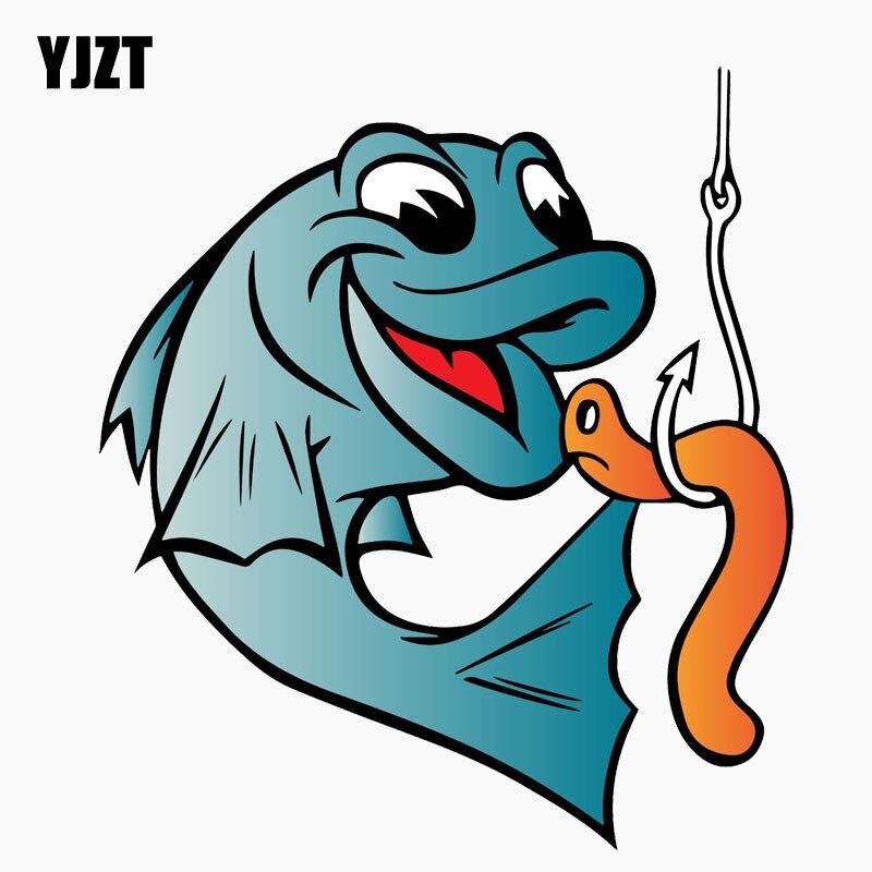 YJZT 11,3 см * 12,7 см рыболовный червячный крючок для рыбалки Забавный светоотражающий автомобильный стикер C1-7731