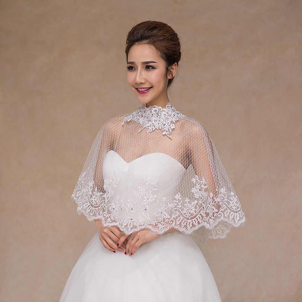 JaneVini 2018 Nova Frisada Alta Neck vestido de Noiva Xale de Renda Verão Bolero Jaqueta de Casamento Xales de Noiva Vestidos de Noite Capa de Malha Branca