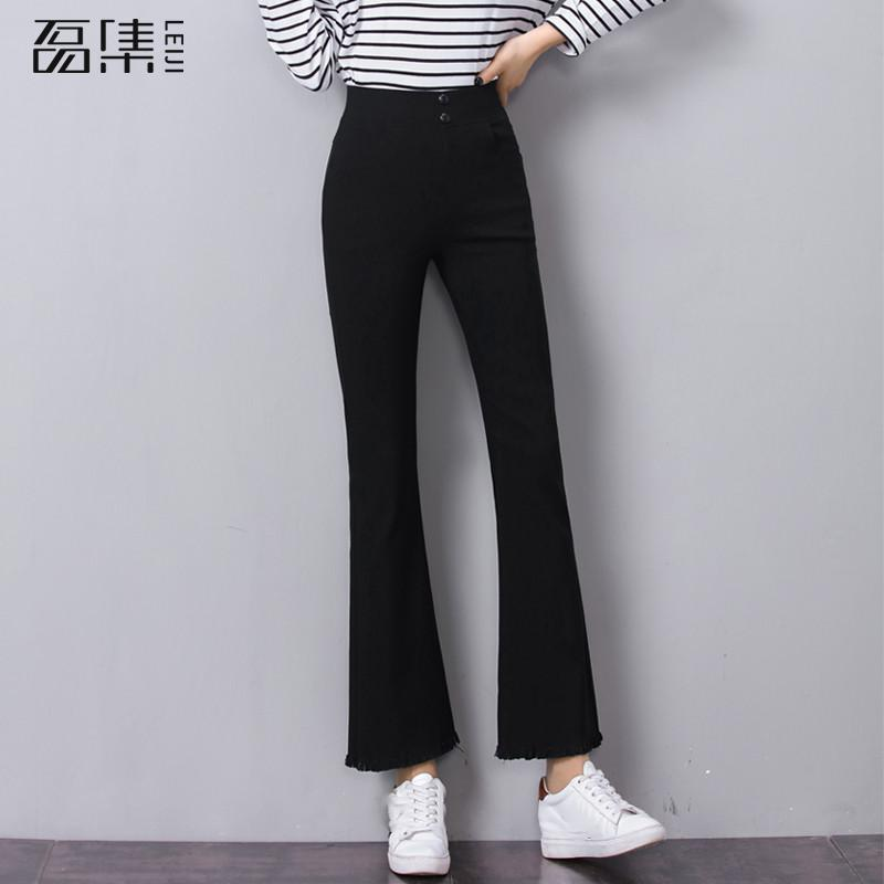 Boyfriends   Jeans   woman with high waist plus size skinny Ankle length Elastic black Flare Denim Pants