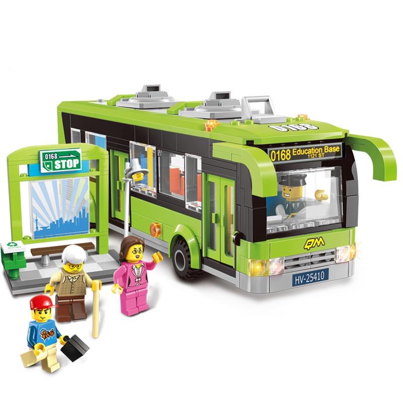 418pcs Enlighten City Bus Station Building Block sets Kids Educational Bricks Toys block set Compatible with lepine