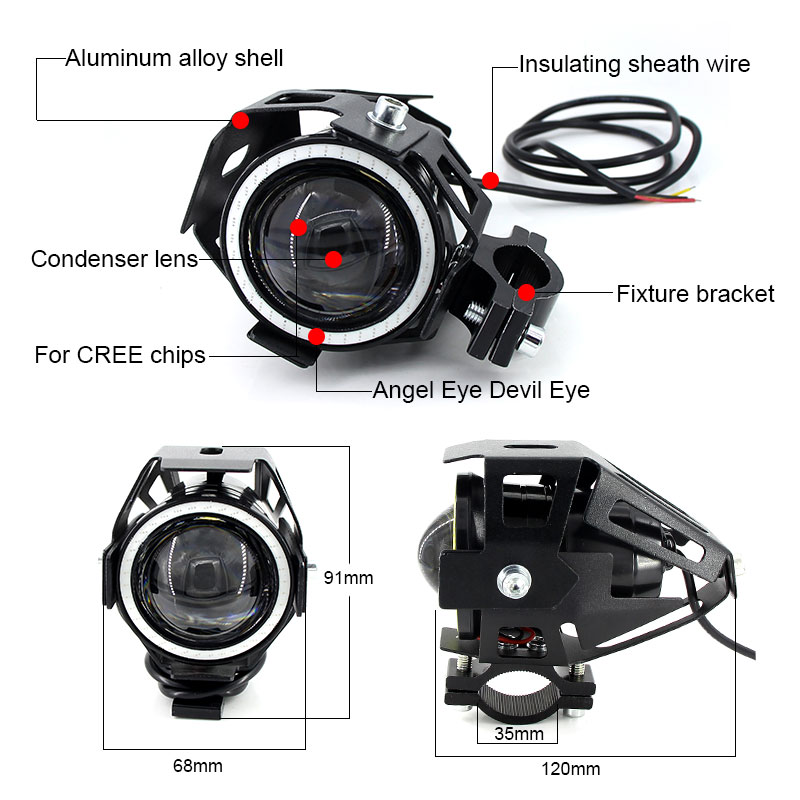 Image 3 - 2PCS x 125W U7 Motorcycle Angel Eyes Headlight DRL spotlights auxiliary bright LED bicycle lamp Fog Light Spot light +Switch    -