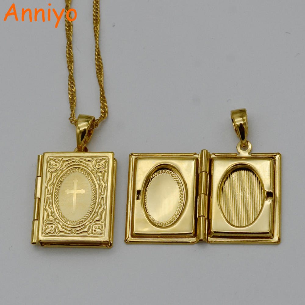 Anniyo Cross Bible Box Pendant & Necklace Chains Crosses Jewelry for Women Christianity/Catholicism Crucifix Religious