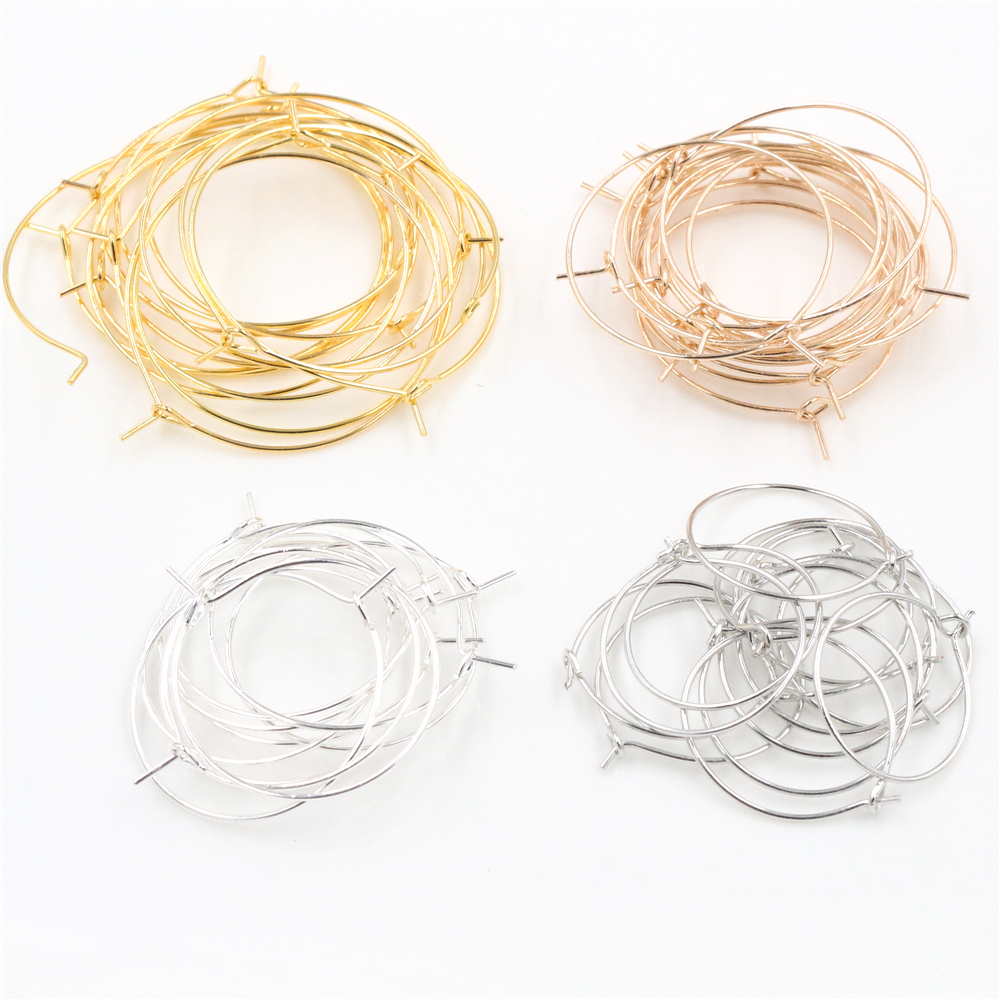 50pcs/lot 20 25 30 35 Mm Gold Silver Color Hoops Earrings Big Circle Ear Hoops Earrings Wires For DIY Jewelry Making Supplies