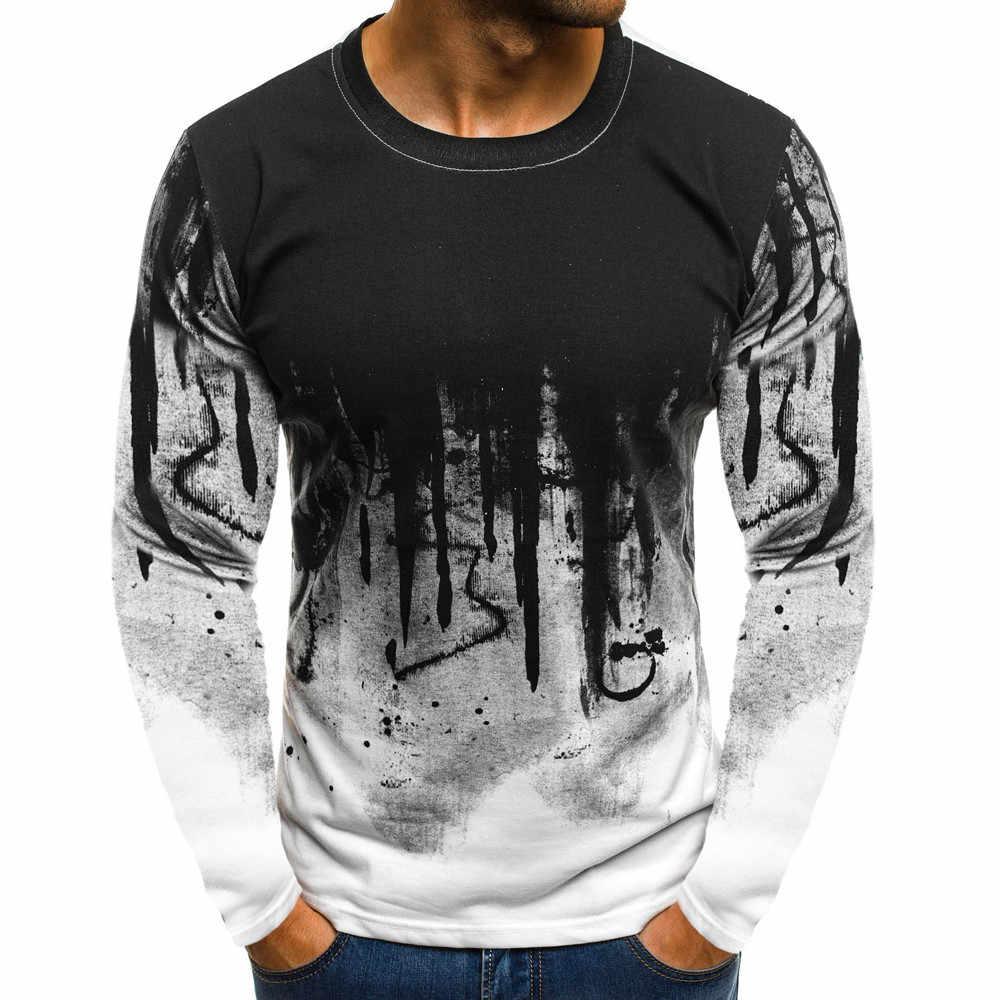 T-셔츠 남성 남성 그라디언트 색상 긴 소매 beefy 근육 기본 솔리드 블라우스 티 셔츠 탑 캐주얼 t-셔츠 남성 코 튼 2019
