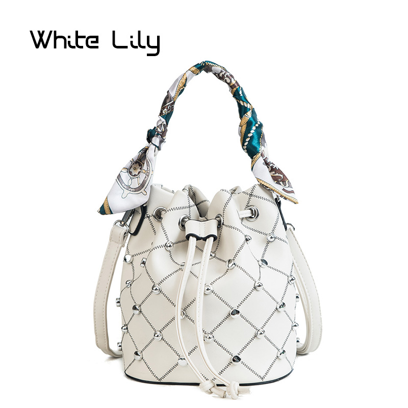 Summer Women Rivet Plaid Scarf Bucket Bag PU Leather Shoulder Bag Ladies Crossbody Bag Messenger Bag Tote Bags