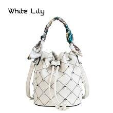 Summer Women Rivet Plaid Scarf Bucket Bag PU Leather Shoulder Bag Ladies Crossbody Bag Messenger Bag Tote Bags недорого