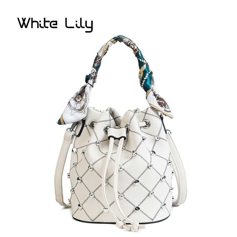 Summer Women Rivet Plaid Scarf Bucket Bag PU Leather Shoulder Bag Ladies Crossbody Bag Messenger Bag Tote Bags
