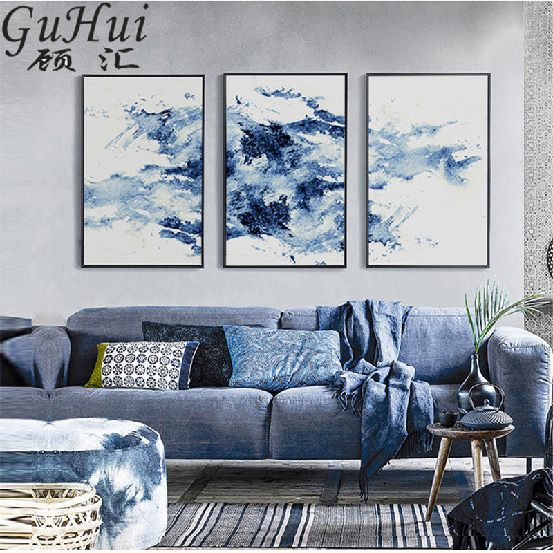 Blue Rhythm Wave Combination Personality Watercolor Abstract Canvas Painting Decoration Art Poster Modular Pictures Home Decor