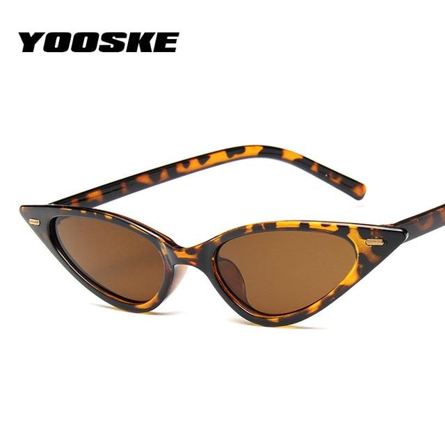 YOOSKE Olho de Gato Do Vintage Óculos De Sol Das Mulheres Designer de Marca de Luxo Triângulo Das Senhoras Óculos de Sol Óculos Shades Preto Vermelho Homens UV400