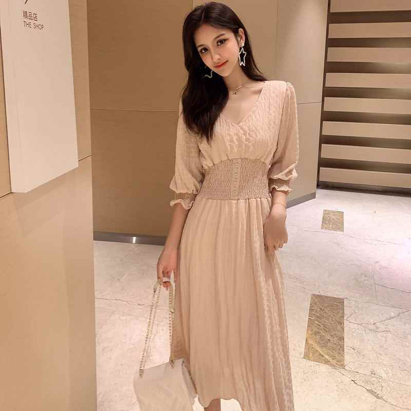 2019 летние женские миди платья однотонный Повседневный корейский однотонный v-образный вырез с коротким рукавом качели расклешенное праздничное пляжное платье для женщин