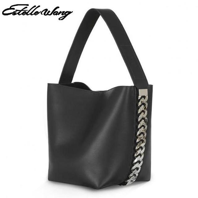 Female 2017 New Autumn Big Chain Bucket Bag Striped Single Shoulder Oblique Women Solid Hasp Soft Open Pocket Versatile Handbags