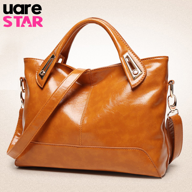 2017 oil wax PU leather shoulder bags brand designer handbags vintage women messenger bags brown ladies crossbody bag