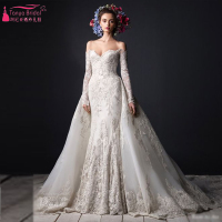 Elegant Mermaid Wedding Dress 2016 Sexy Lace Bridal gown with detachable Skirt Long sleeve turkey gelinlik Dresses Z298