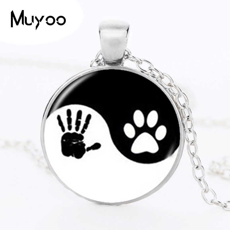 Yin Yang Necklace Pet Paw Print Pendant Handprint Art Necklace Tai Ji Jewelry for Animal Lover Pet Lover Cat Dog Birthday HZ1