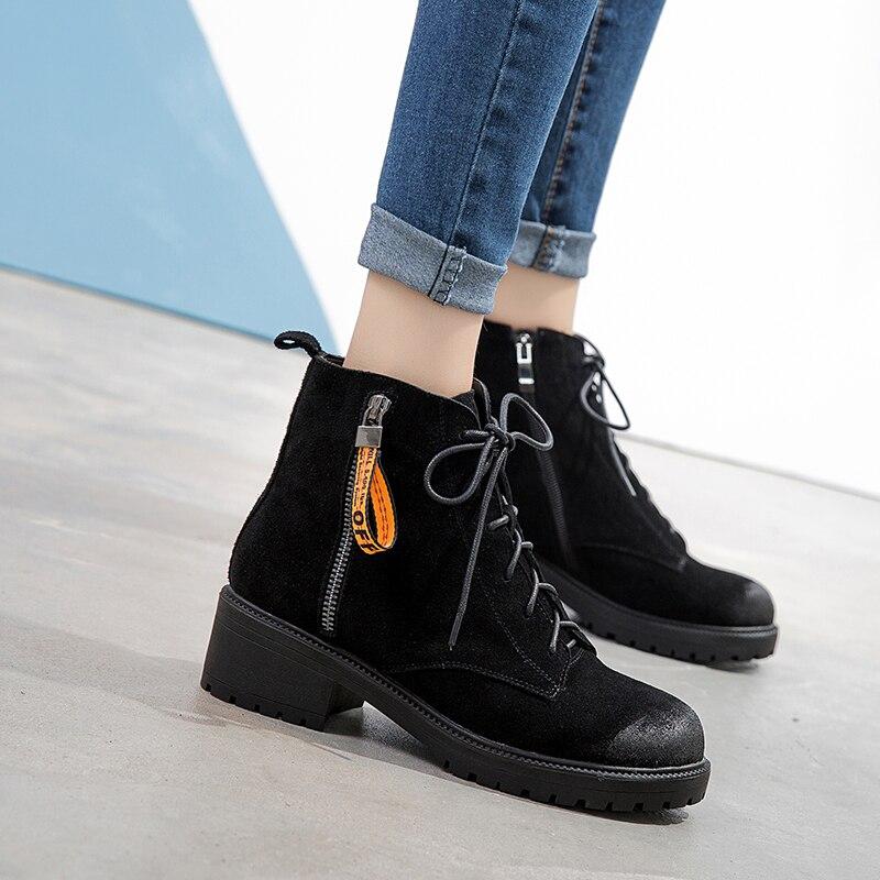 Sarairis En Bottes Chaussures Cheville Black Femme Chunky Nouvelle Martin Cow Suede Suédé Cuir Spéciale Offre Vache Plate Talons Femmes Loisirs forme TpIwx6rqp7