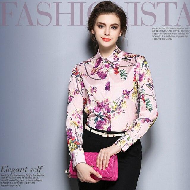 fb7051c624ed4f Otoño de Moda Camisa de Estampado Floral Mujeres Tops Manga Larga Delgada  Salvaje camisa Oficina Blusa