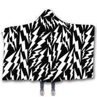 Anti Samely Scarves & Wraps Hooded Blanket 3D Print lightning hooded poncho scarf shawl manteau femme hiver