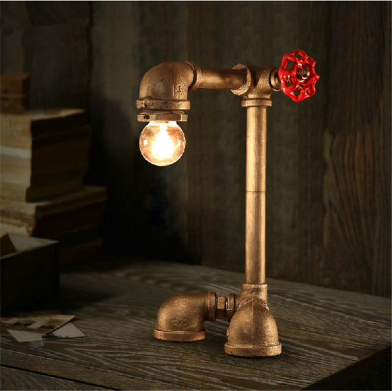 Novel industrial water pipes steampunk Table desk lamp vintage ...