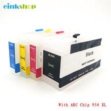 einkshop 954 Refillable Cartridge Replacement For HP 954XL XL OfficeJet Pro 7740 8210 8710 8720 8730 Printer Auto Reset Chip