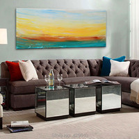 Dusk Seaside Acrylic Paint Home Decoration Oil Painting on canvas hight Quality Hand painted Wall Art 24X48 inch ,36X72 inch