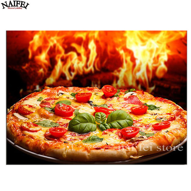 Full Square 5d Diamond Painting Cross Stitch Pizza Kitchen Decor,5D Diamond  Embroidery,diamond