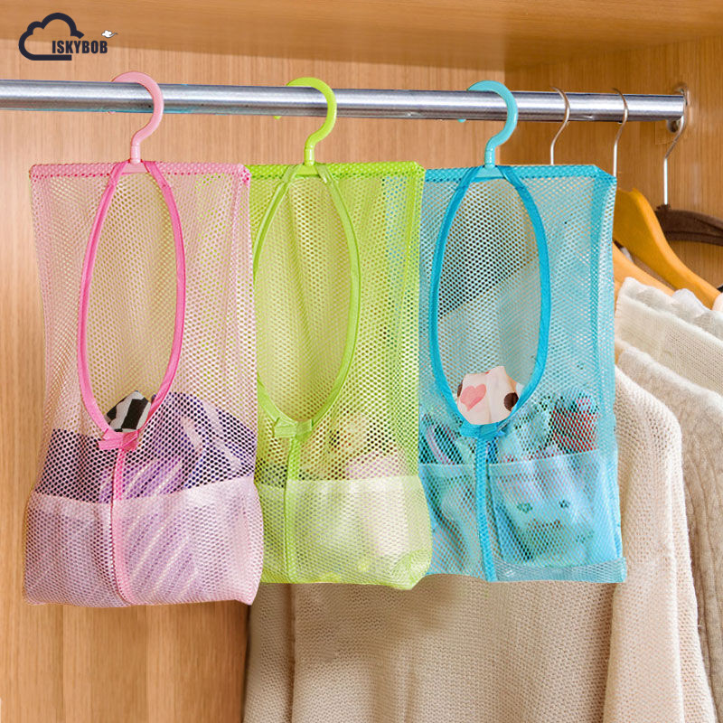 ISKYBOB Multi-function Space Saving Hanging Mesh Bags Clothes Organizer For Bedroom New Cosmetic Bag