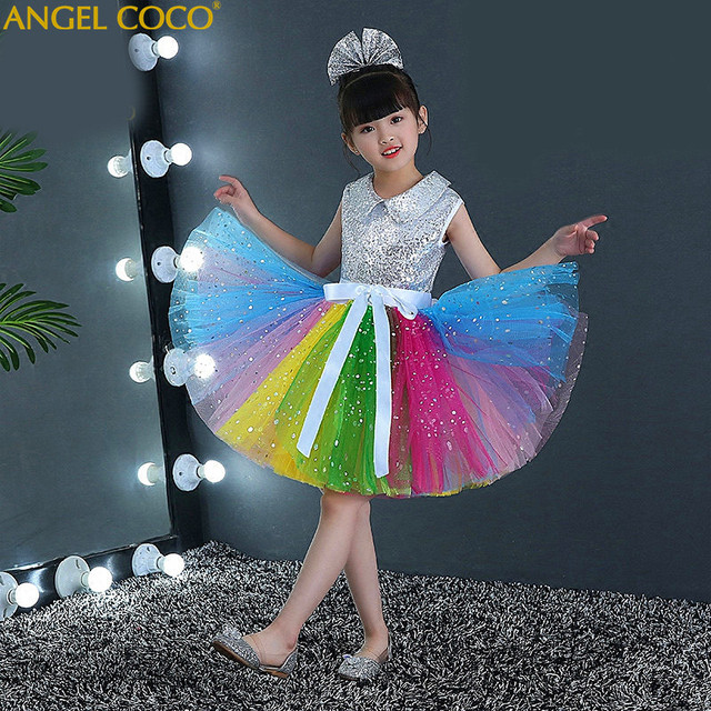 Flower Sequins Princess Toddler Girl Dress Summer 2018 Christmas Party Rainbow Tulle Dresses Clothes For Children 4-14 Birthday