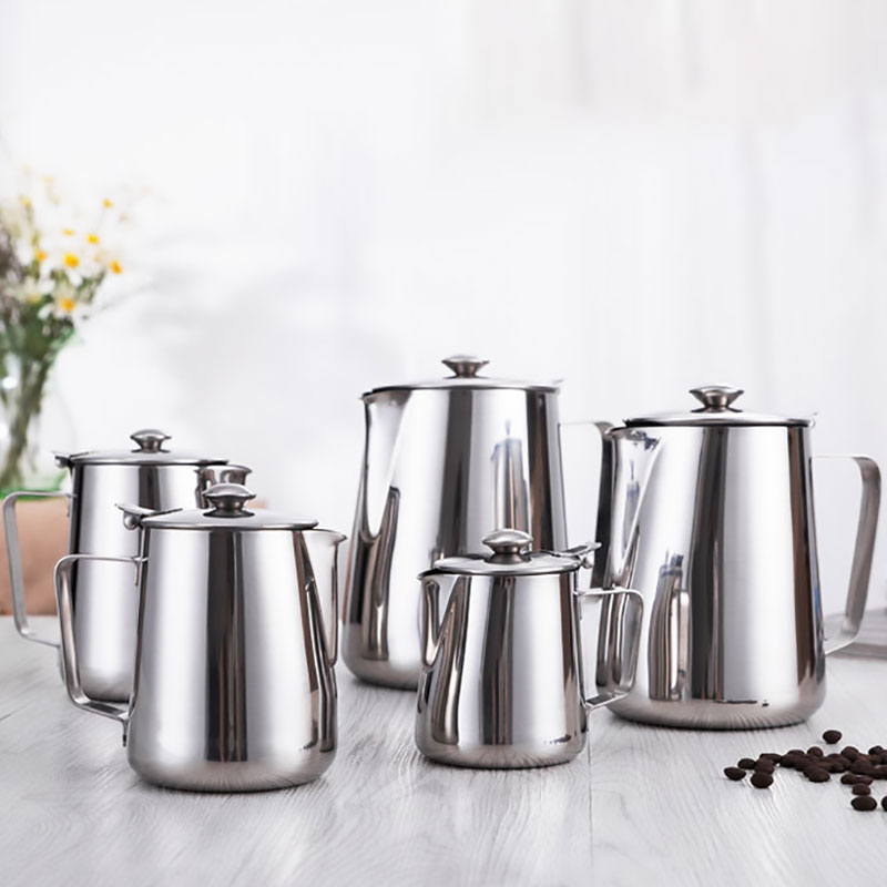 Stainless Steel Milk Frothing Pitcher, Coffee Foam Container With Lids