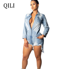 QILI Women Denim Jumpsuits Rompers Long Sleeve Turn-Down Collar Buttons Pockets Fashion Rompers Playsuits Womens Overalls