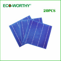 Hot *  20pcs Solar Cell 6x6 A Grade 3 Bus Bars 4.3W Each Cell DIY Solar Panel 156x156mm Polycrystalline Solar Cell Price