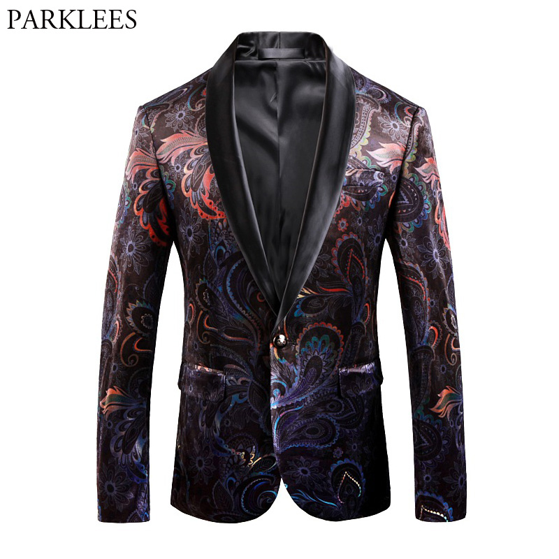 Fancy Paisley Blazer Men Luxury Print Shawl Collar Suit Jacket Men Wedding Dinner Party Stage Singer Costumes Terno Masculino