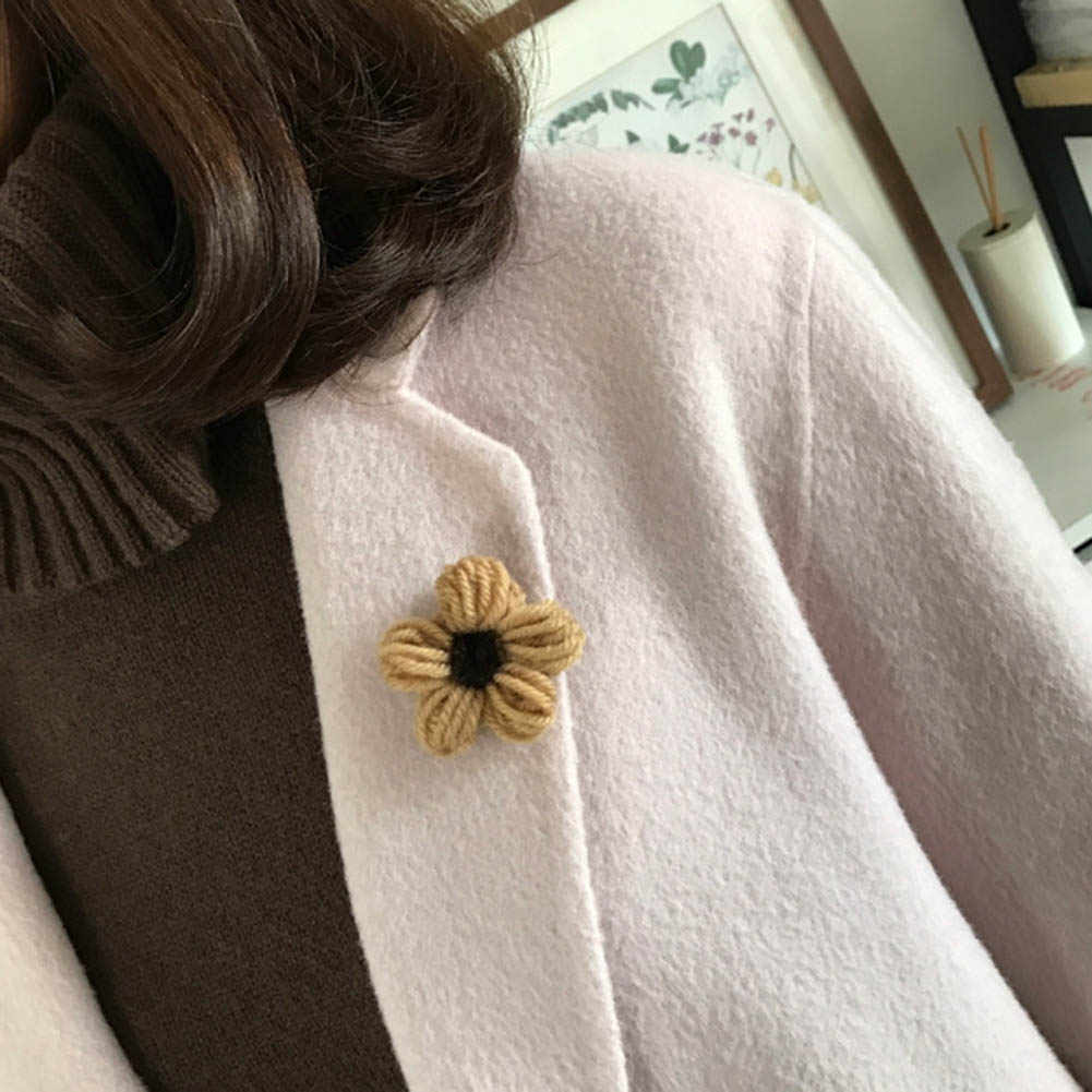 2018 Wool Flowers Pin Brooch For Women Girl Sister Fashion Sweater Denim Jacket Collar Badge Knitting Flowers Pins Jewelry Gift