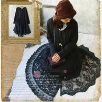Mori meisje plus size 2017 herfst 100% katoen patchwork kant asymmetrische lange mouwen full dress bos meisje vrouwen kleding w584