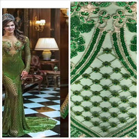 Beads+Sequin Lace Fabric 4.57*1.3meters 2017 African Lace fabric with Sequins High Quality green Beads Fabric for dresses JL22 1