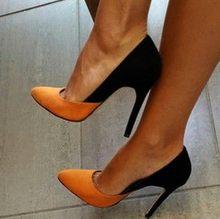 GOOFLORON NOVO, Sapatos, saltos das mulheres bombas, saltos moda apontou, orange e preto costura de couro cashmere, 11 cm saltos