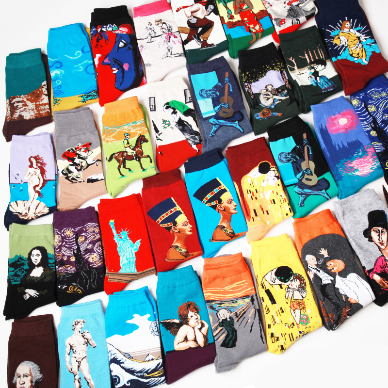 Fashion Art Harajuku Cotton Crew Printed Women Men Socks Short Van Gogh Novelty Funny Painting Character Pattern Cute Female
