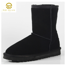 Women's Snow Boots Fashion High Quality Genuine Suede Leather Classic Warm Winter shoes woman 5825 gray  big size warm boots