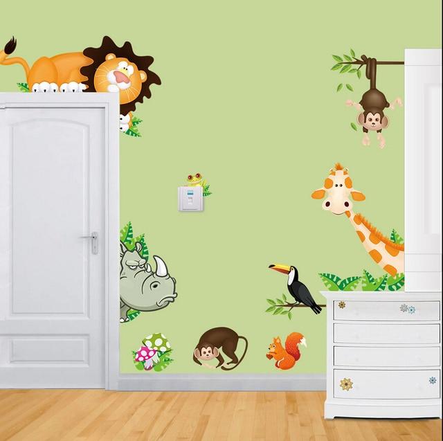 Dieren Stickers Muur.Jungle Wilde Dieren Vinyl Muurstickers Sticker Voor Baby Nursery