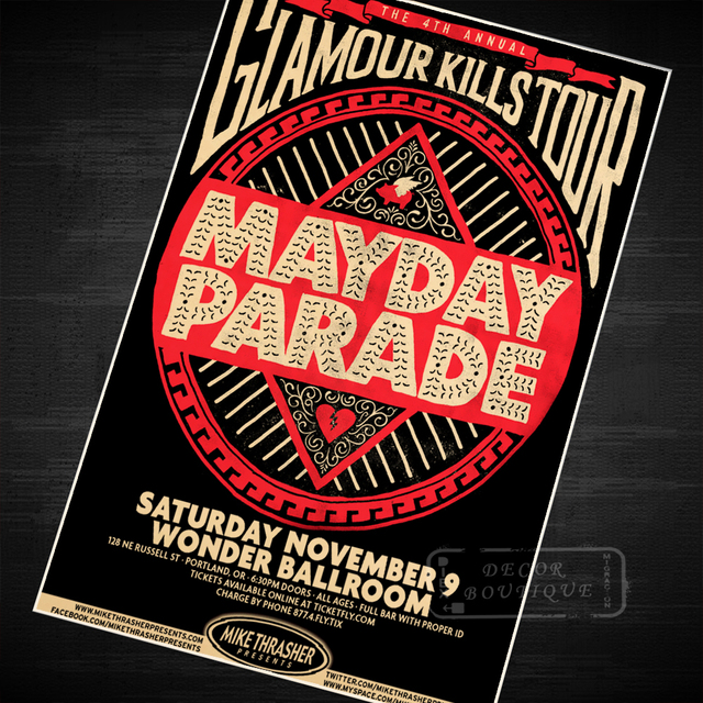 The Mayday Parade Music Class Vintage Retro Canvas Painting Poster ...