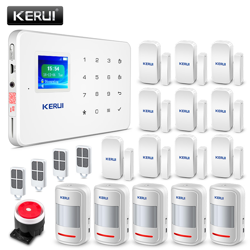 Kerui G18  GSM Burglar Alarm Motion Detector Wireless Smoke Detector IP WiFi Camera LCD Screen Home security Alarm System yobangsecurity touch keypad wireless wifi gsm home security burglar alarm system wireless siren wifi ip camera smoke detector