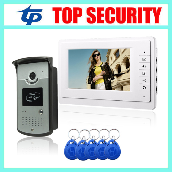 125KHZ RFID smart card door access control system 1000 user ID card reader 7 inch video door phone video intercom system 7 inch password id card video door phone home access control system wired video intercome door bell