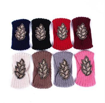 8pcsWomen's Kralen Gebreide Wol Hoofdbanden Boho Bloem Tulband Head Wrap Bandage Winter Oor Warmer Meisjes Haarband Haaraccessoires
